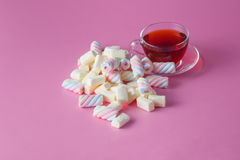 Tea cup with marshmallow Royalty Free Stock Image