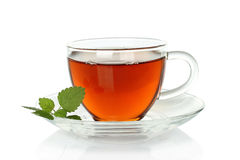 Tea cup with melissa leaves stock photography