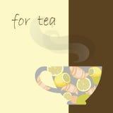 Tea cup on menu Stock Photos