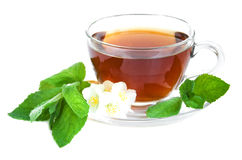 Tea cup with mint leaves Royalty Free Stock Photo