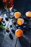 Tea cup, muffins and blueberry Stock Photography