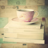 Tea cup over books Royalty Free Stock Photography