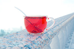 Tea cup on pillars Royalty Free Stock Images