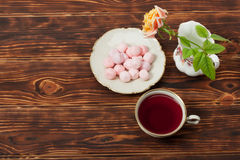Tea Cup and Plate Of Fine Bone China. Sweets Stock Photography