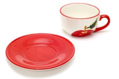 Tea cup and red saucer Stock Photo