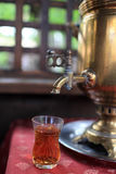 Tea cup and samovar Stock Photography