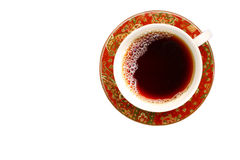 Tea cup and saucer. Top shot of a filled tea cup and saucer Stock Photography