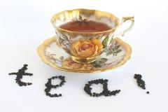 Tea cup. Cup of tea on saucer with tea leaf Stock Image