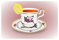 Tea cup on a saucer and a lemon. Porcelain set. Vector illustration Stock Image