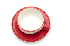 Tea cup and saucer on white Royalty Free Stock Photos