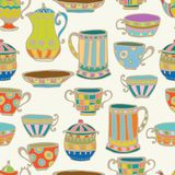 Tea cup seamless background. With teapot, illustration for design Royalty Free Stock Photo