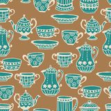 Tea cup seamless background. With teapot, illustration for design Royalty Free Stock Image