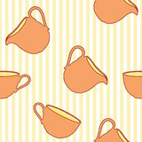 Tea cup seamless pattern on striped background Stock Images