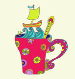 Tea cup with ship Royalty Free Stock Photography