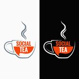 Tea cup social media concept background Stock Images