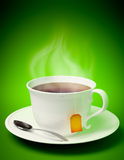 Tea cup with spoon. 3D render of a tea cup with spoon and vapor coming out on green background Royalty Free Stock Photos