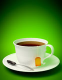 Tea cup with spoon. 3D render of a tea cup with spoon on green background royalty free illustration