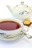 Tea cup, spoon, teapot Royalty Free Stock Photos