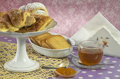 Tea cup and sweets Royalty Free Stock Photo