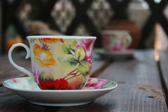 Tea cup on the table Stock Images