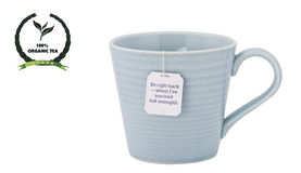 Tea cup, tagged tea bag with an eco friendly label isolated on w Stock Photos