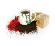 Tea cup with tea. And various herbs Stock Photo