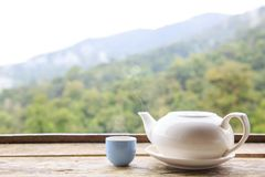 Tea cup and Tea pot. Tea pot and tea cup hot or warm on wood table with copy space background nature royalty free stock photography