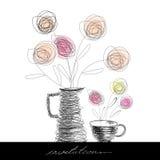 Tea cup and teapot Stock Photography