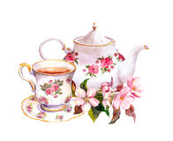 Tea cup, teapot with flowers. Vintage watercolor design Royalty Free Stock Photography
