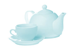 Tea cup with teapot isolated Royalty Free Stock Image