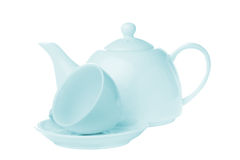 Tea cup with teapot isolated Royalty Free Stock Photos