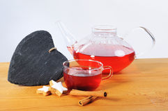 Tea Cup, Teaspot and a heart from shale Stock Image