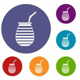 Tea cup used mate or terere in Argentina icons set Royalty Free Stock Images
