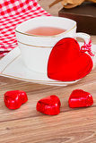 Tea cup at valentines day Royalty Free Stock Images