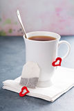 Tea in a cup for Valentines day Stock Photography