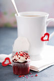 Tea in a cup for Valentines day Stock Photos