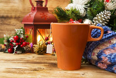 Tea Cup on Warm Christmas Background Royalty Free Stock Photos
