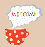 Tea cup welcome card - cute design Stock Images