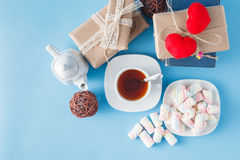 Free Tea Cup With Books And Gift Boxes Royalty Free Stock Images - 65045759