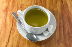 Tea Cup on wood table Stock Photography