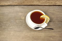 Tea Cup on the wooden table or floor, XXXL Royalty Free Stock Image