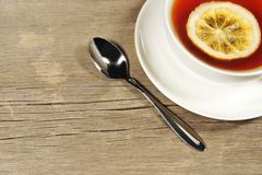 Tea Cup on the wooden table or floor, XXXL Stock Photo