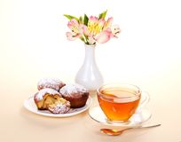 Tea with cupcakes for a breakfast Royalty Free Stock Photography