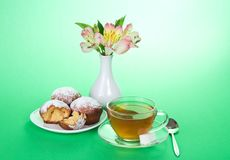 Tea with cupcakes for a breakfast Royalty Free Stock Photo