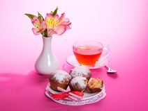 Tea with cupcakes for a breakfast Royalty Free Stock Image