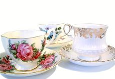 Tea Cups. 3 china tea cups and saucers Stock Images