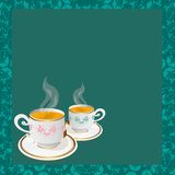 Tea cups background Royalty Free Stock Image
