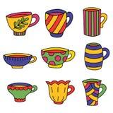 Tea cups coffee mugs. Colorful cartoon vector set Stock Photo