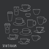 Tea cups collection Royalty Free Stock Images
