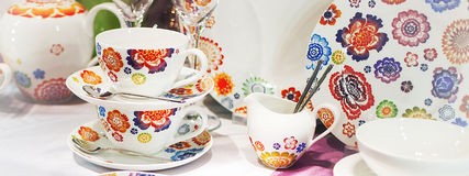 Tea Cups made of porcelain close up,   horizontally Stock Photography